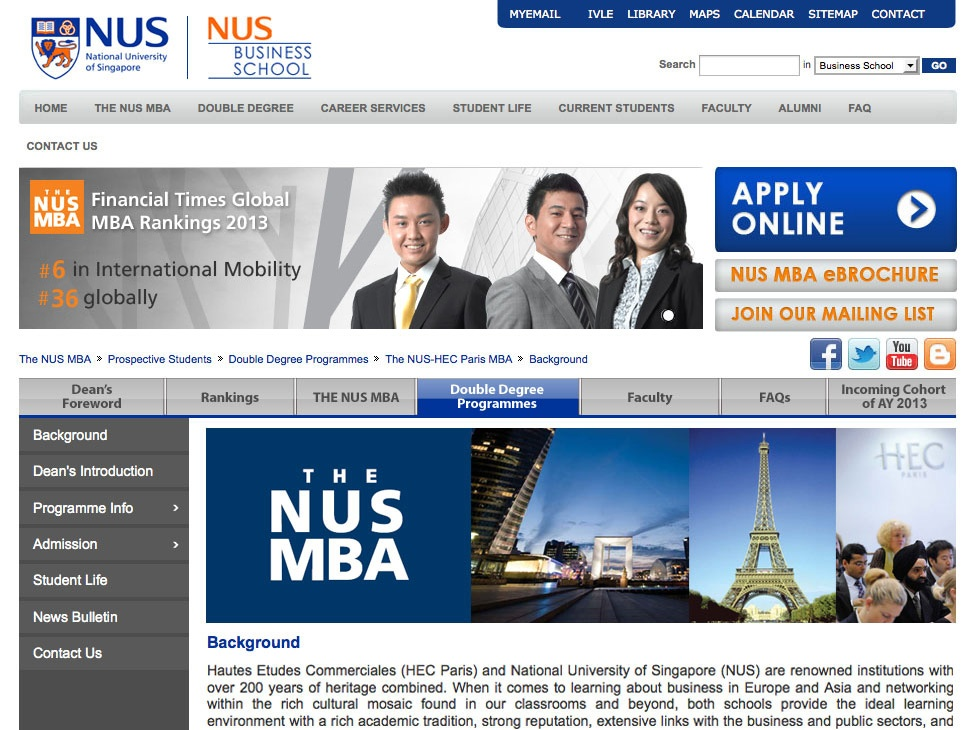 NUS Business School MBA Website