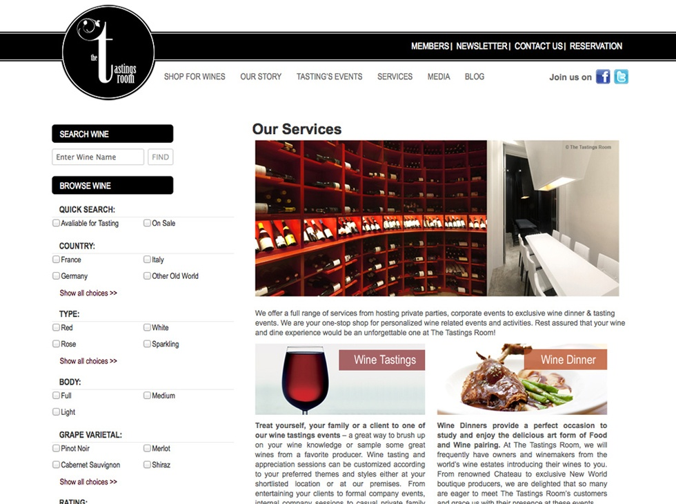The Tastings Room Website Internal Page