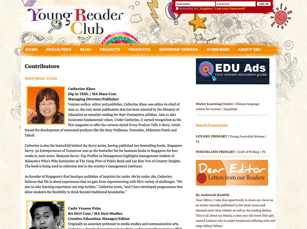 Young Reader Club Website Profile Page
