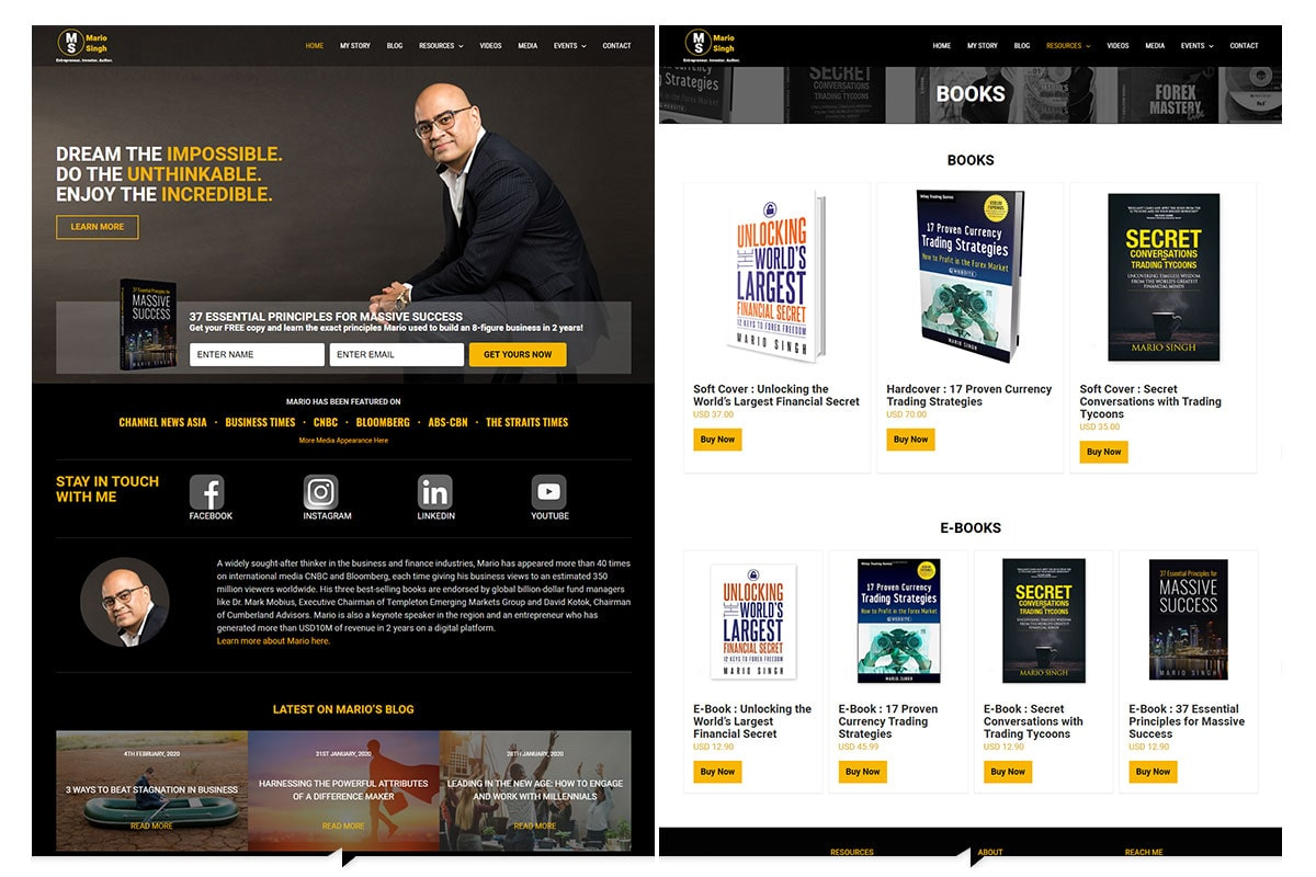 MarioSingh-Home-and-Book-page
