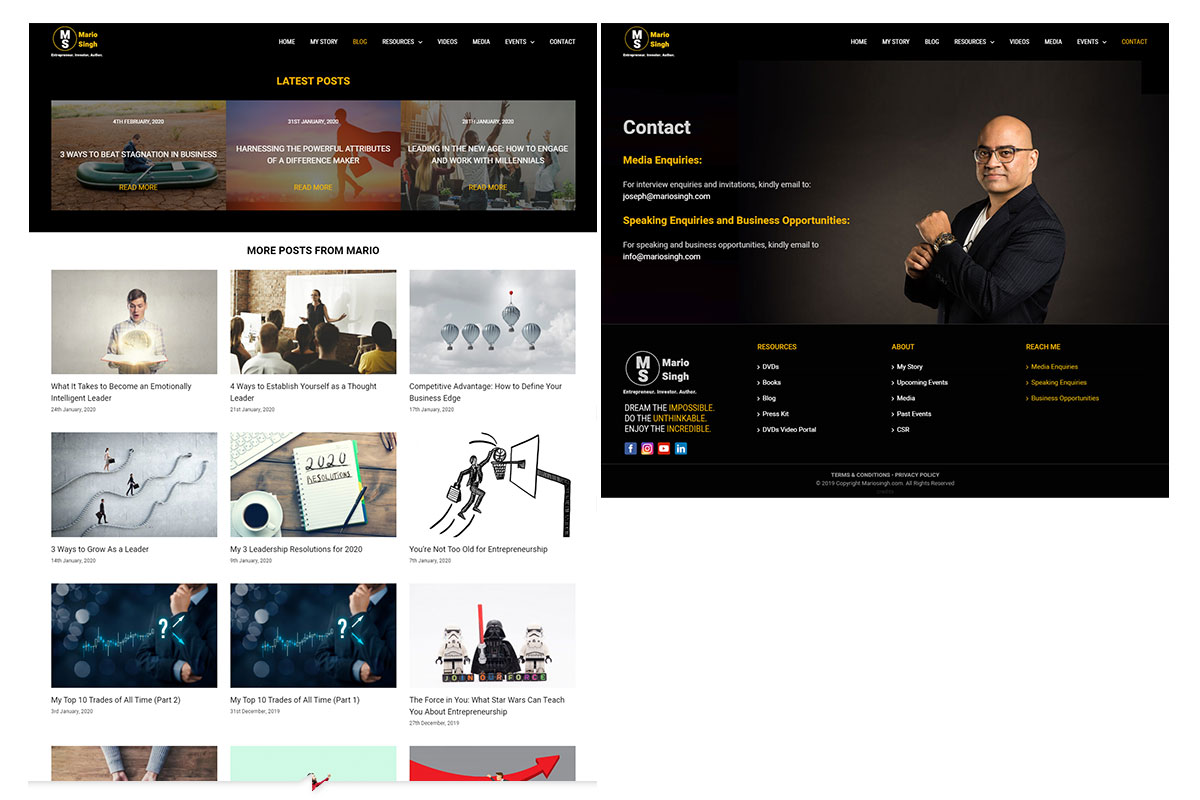 MarioSingh-Video-and-Contact-page